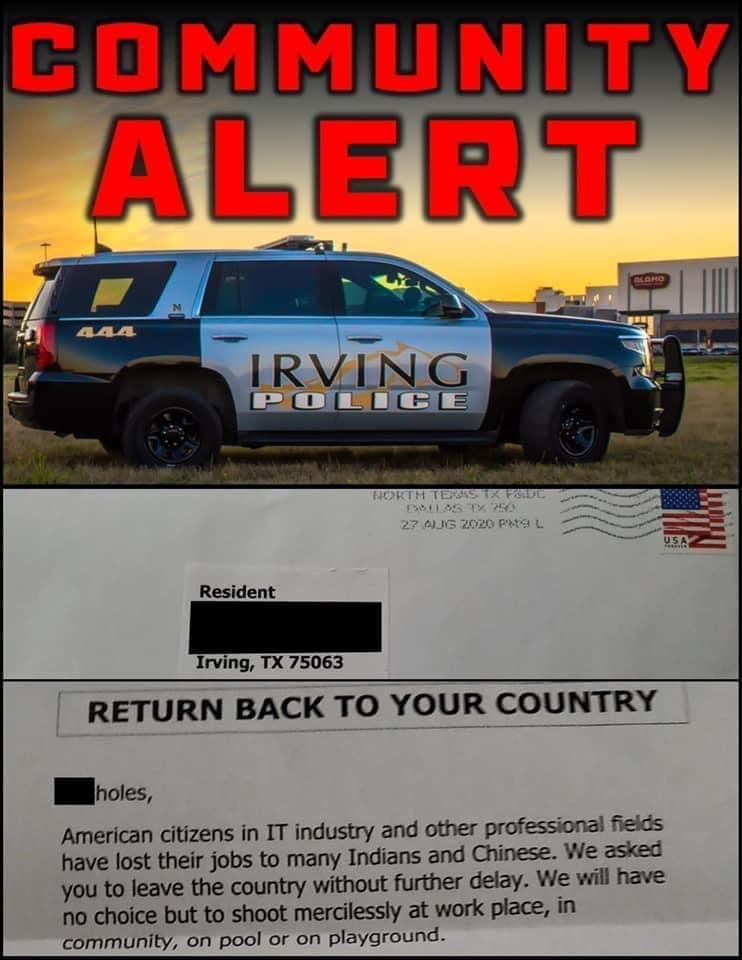 Death threat targeting Chinese and Indian IT workers investigated by Irving police